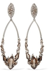 Alexis Bittar Silver Quartz Clip Earrings Brown