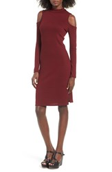 One Clothing Women's Cold Shoulder Midi Dress Burgundy