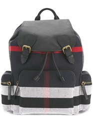 Burberry Stripe Panel Backpack Cotton Jute Leather Blue