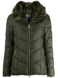 Barbour Fur Trimmed Collar Jacket Green