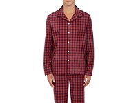 Sleepy Jones Men's Henry Checked Cotton Pajama Top Navy