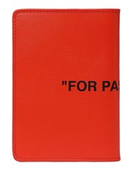 Off White Quote Leather Passport Holder Orange