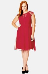 City Chic Plus Size Women's 'Dark Romance' Lace Detail Dress Ruby