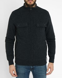 Barbour Charcoal Fur Collar Quilted Cardigan Grey