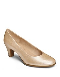 Aerosoles Redhot Glazed Leather Pumps Champagne Lizard