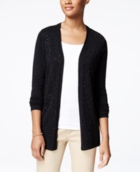 Charter Club Petite Embellished Open Front Cardigan Only At Macy's Deep Black