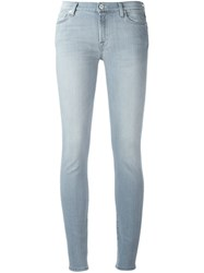 7 For All Mankind Crystal Detail Skinny Jeans Grey