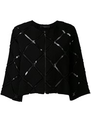 Federica Tosi Sheer Cut Detail Cropped Blazer Women Polyamide Viscose M Black