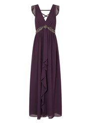 Dorothy Perkins Little Mistress Purple Drape Maxi Dress Brown