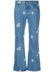 Miu Miu Flower Embroidered Cropped Jeans 60