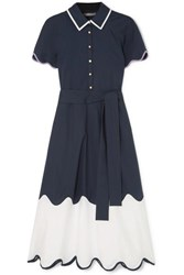 Lela Rose Pleated Scalloped Cotton Poplin Dress Navy