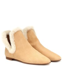 The Row Eros Suede Ankle Boots Beige