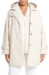 Plus Size Women's Larry Levine A Line Raincoat Stone
