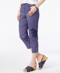 Style And Co Petite Embroidered Cargo Capris Only At Macy's New Uniform Blue