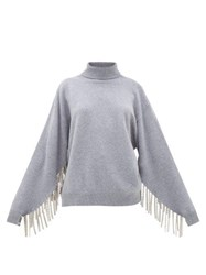 Christopher Kane Chain Trimmed Roll Neck Wool Blend Sweater Grey