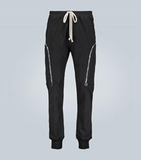 Rick Owens Tapered Cotton Jersey Cargo Pants Black