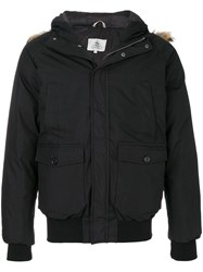 Pyrenex Fur Trimmed Parka Cotton Feather Down Polyamide Racoon Fur L Black