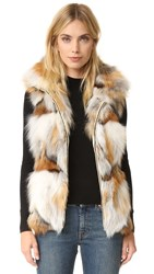 Jocelyn Silver And Golden Fox Patchwork Vest Natural Multi