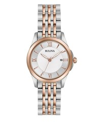 Bulova Rosegold And Stainless Steel Watch Two Tone