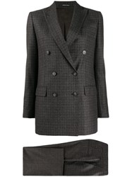 Tagliatore Checked Two Piece Suit Grey