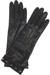 Gucci Studded Cashmere Lined Leather Gloves