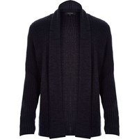 River Island Mens Navy Knitted Textured Cardigan
