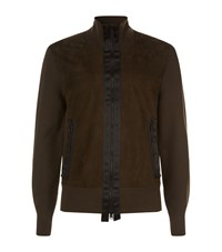 Tom Ford Suede And Wool High Neck Jacket Green