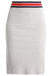 Mbym Aviana Pencil Skirt Light Grey Melange