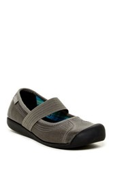 Keen Sienna Leather Mary Jane Wedge Gray