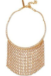 Oscar De La Renta Gold Tone Crystal Necklace Gold