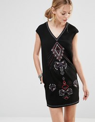 See U Soon Shift Dress With Embroidered Front Black