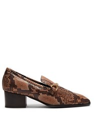 Stella Mccartney Python Effect Faux Leather Block Heel Loafers Black Nude