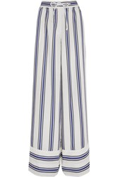 Sacai Striped Voile Wide Leg Pants White