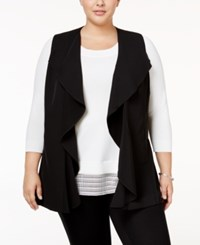 Calvin Klein Plus Size Ruffled Open Front Vest Black