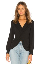 Bailey 44 Counter Intelligence Draped Georgette Top Black