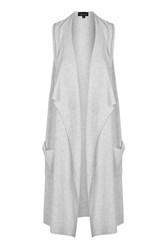 Topshop Sleeveless Rib Waterfall Cardi Grey Marl
