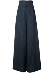 By. Bonnie Young Wide Leg Trousers Women Linen Flax 2 Blue