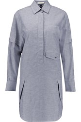 Alexander Wang Cotton Chambray Shirt Dress Gray