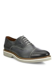 Saks Fifth Avenue Delarentis Burnished Cap Toe Leather Lace Up Shoes Grey