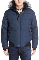 Men's Point Zero Water Resistant Hooded Down Parka With Faux Fur Trim Galaxy Blue