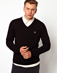 Fred Perry Jumper With V Neck Black