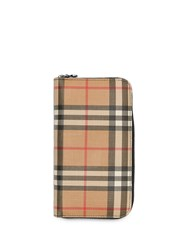 Burberry Vintage Check And Leather Ziparound Wallet Neutrals