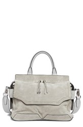 Rag And Bone Micro Pilot Suede Leather Satchel Metallic Cement Suede