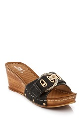 Godiva Win Crystal Buckle Platform Wedge Sandal Black