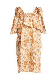 Chloe Ruffled Tier Floral Print Cotton Dress Beige Print