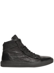 John Varvatos Laser Cut Leather High Top Sneakers