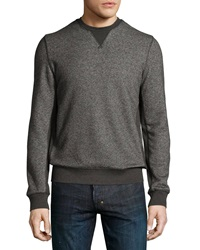 Vince Ribbed Trim Crewneck Sweatshirt Dark Gray