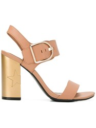 Tommy Hilfiger Star Embossed Heel Sandals Nude And Neutrals