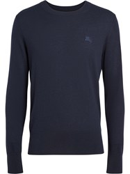 Burberry Crew Neck Cashmere Sweater Blue