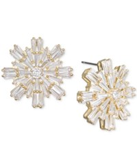 Jewel Badgley Mischka Baguette Crystal Starburst Cluster Stud Earrings Gold